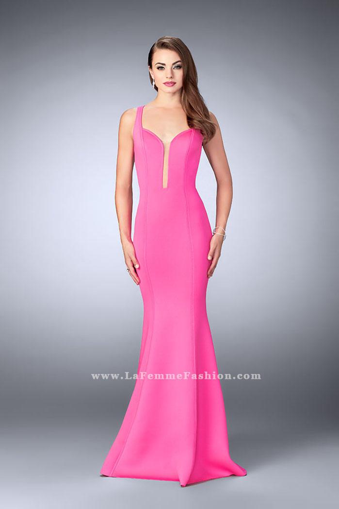 La Femme 24360 Sheer Cutout Neoprene Prom Dress: French Novelty