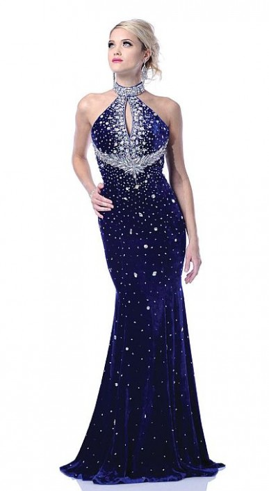 Johnathan Kayne Royal Silk Velvet Keyhole Mermaid Prom Dress 246