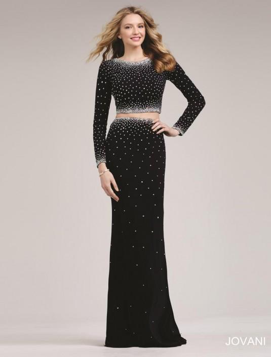 Jovani 24600 Long Sleeve 2 Piece Prom Dress French Novelty
