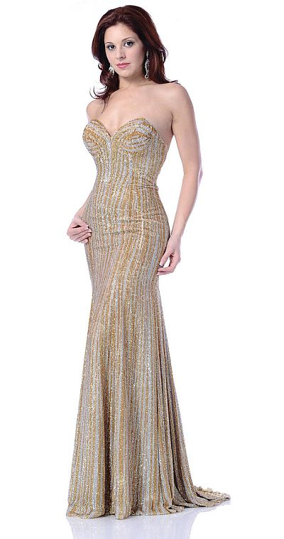 Johnathan Kayne Silver Gold Sequin Mermaid Pageant Dress