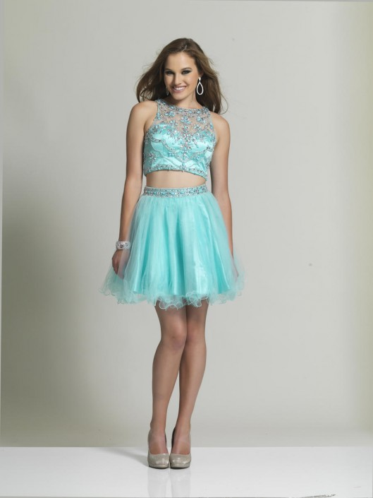 Dave And Johnny 2491 Two Piece Short Prom Dress French Novelty