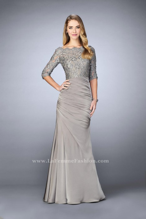 La Femme 24926 Lace and Jersey Evening Dress: French Novelty
