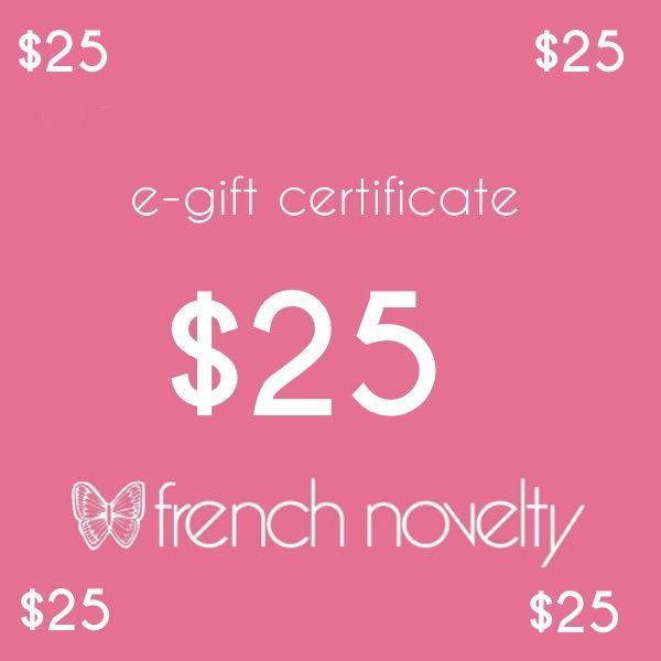 e gift certificate 25 french novelty