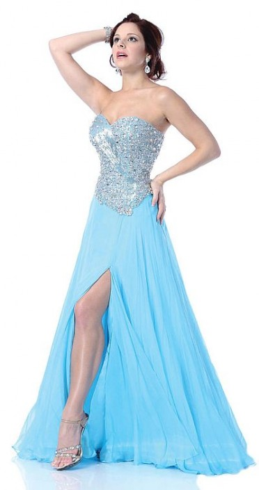 Johnathan Kayne Aqua Drop Waist Circle Skirt Prom Dress 252: French ...