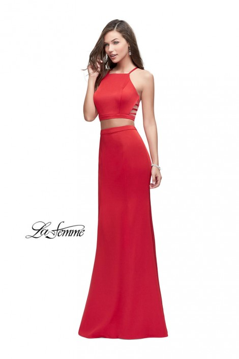Size 8 Red La Femme 25220 Strappy 2 Piece Prom Gown: French Novelty