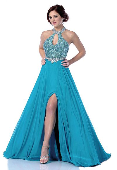 Johnathan Kayne Teal Ab Choker Halter Keyhole Prom Dress