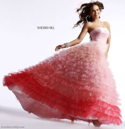 Ball Dress on Sherri Hill Pink Ombre Tiered Ruffle Ball Gown Prom Dress 2531 Image