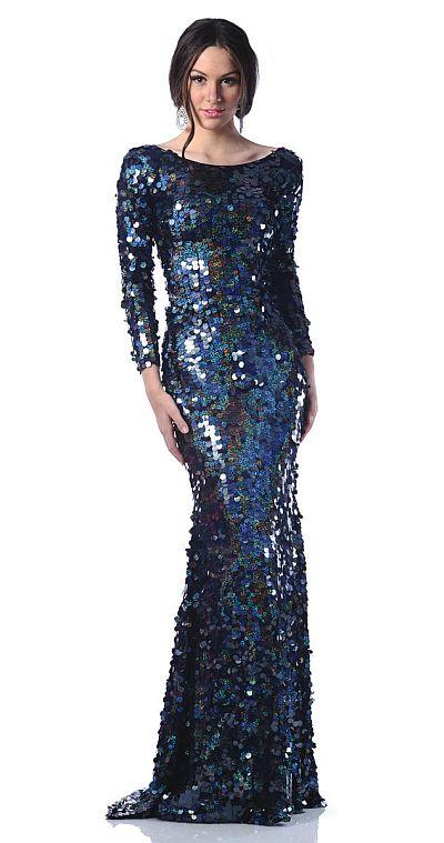 Johnathan Kayne Navy Sequin Jersey Boat Neck Prom Dress