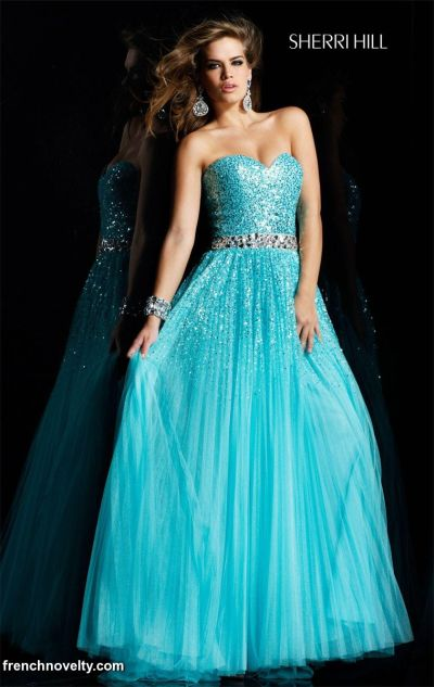 Sherri Hill Luminous Aqua Pleated Evening Gown Prom Dress 2545 ...