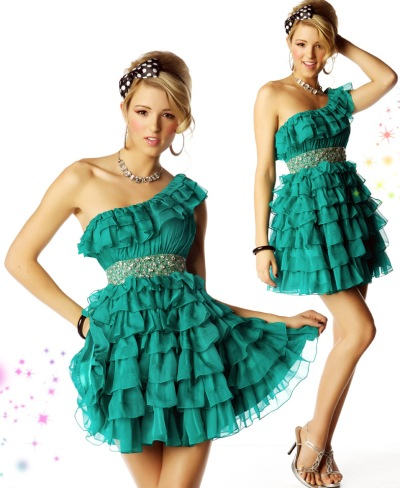 MacDuggal Homecoming Short Tiered Ruffle Dress 2548NA: French Novelty