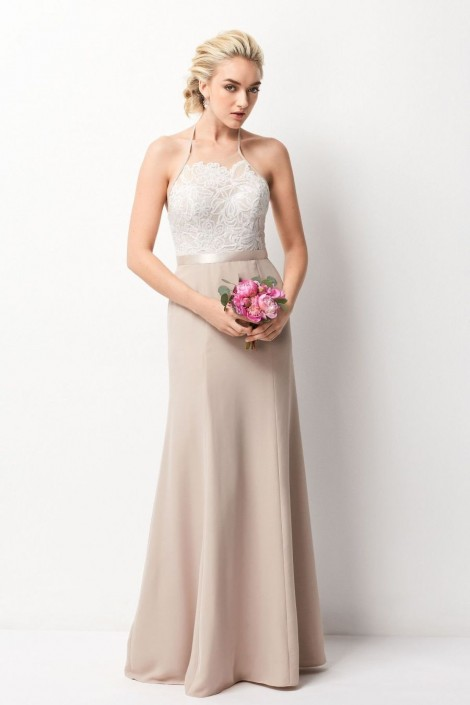 Wtoo 257 Halter Bridesmaid Dress with Sequin Lace: French Novelty