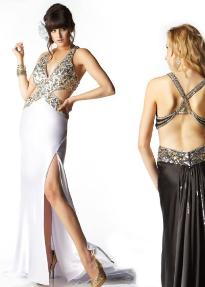 Dresses on Macduggal Beaded Side Cut Out Prom Dress 2575m Image