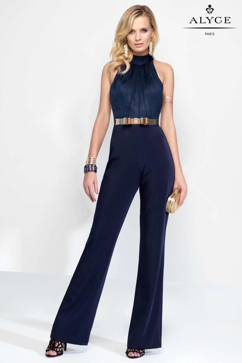 Alyce Claudine 2576 Halter Top Formal Jumpsuit French Novelty
