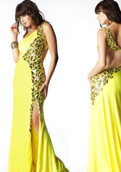MacDuggal One Shoulder Jersey Sequin Prom Dress 2577M: French Novelty