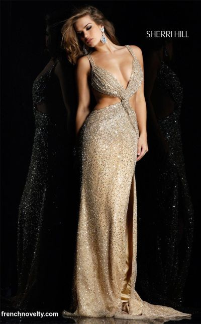 Sherri Hill Gold Sexy Open Sequin Prom Dress 2582 French Novelty