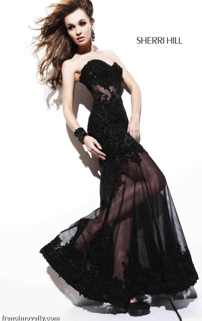 c7721793aec8 Sherri Hill Sexy Black Lace Illusion Evening Prom Dress 2591: French Novelty