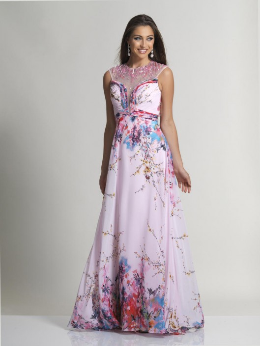 Dave and Johnny 2593 Watercolor Chiffon Prom Gown: French Novelty