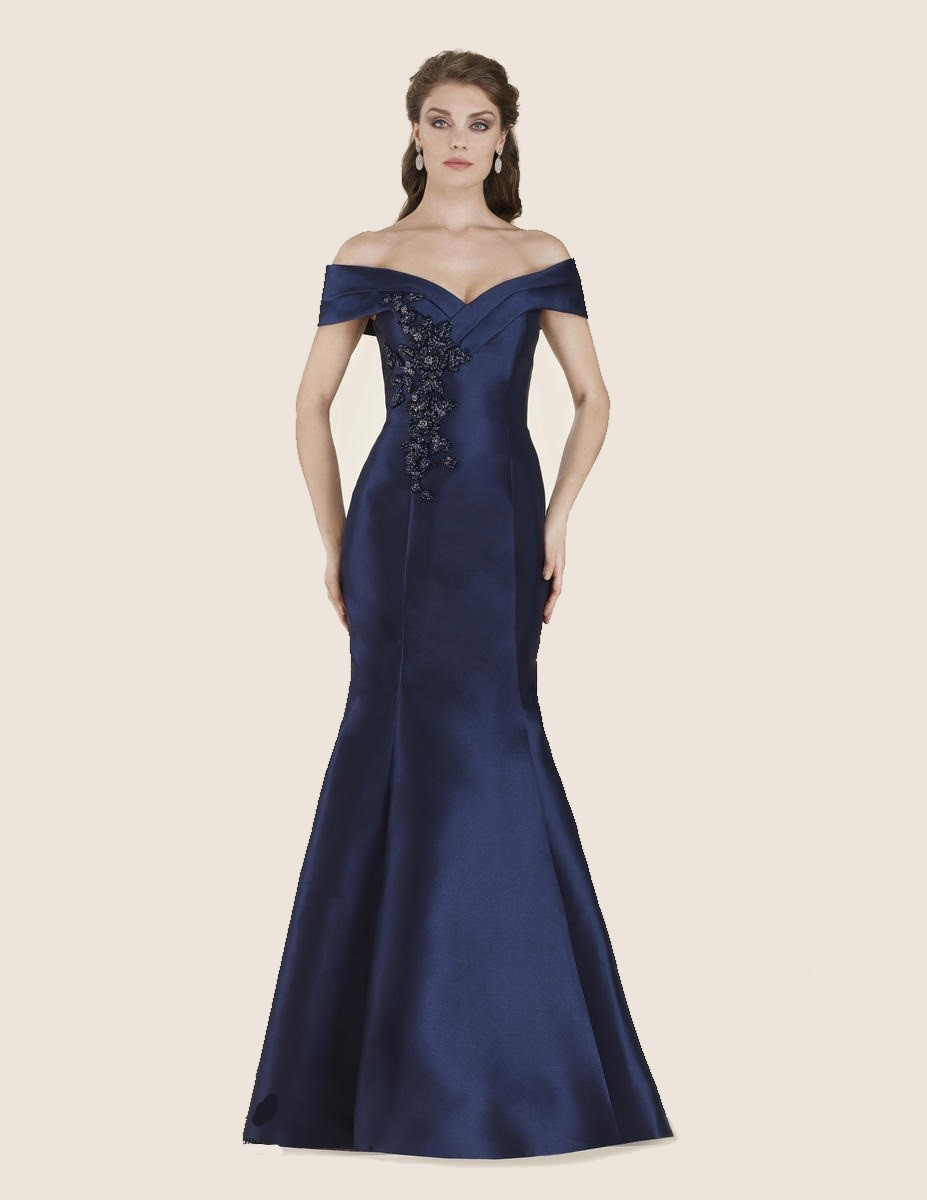 Rina Di Montella 2602 Off Shoulder Mothers Gown French