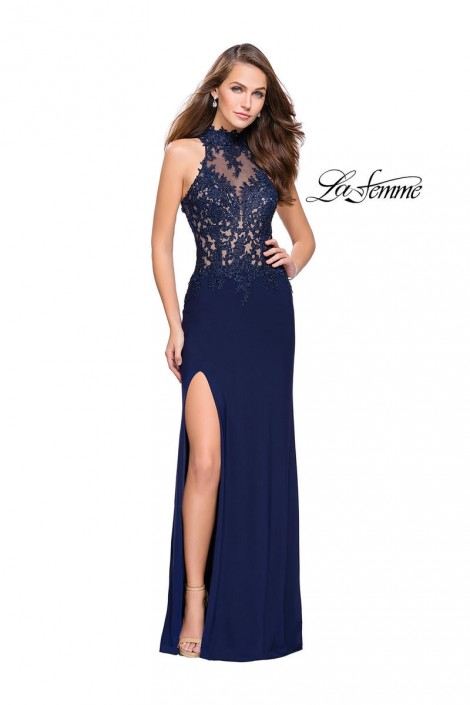 La Femme 26038 Sheer High Neck Prom Gown: French Novelty