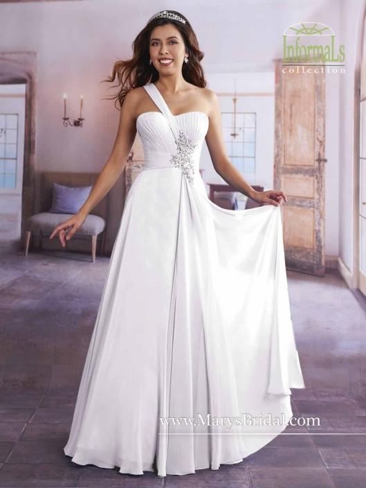Marys Bridal Informals 2621 One Shoulder Wedding Gown: French Novelty