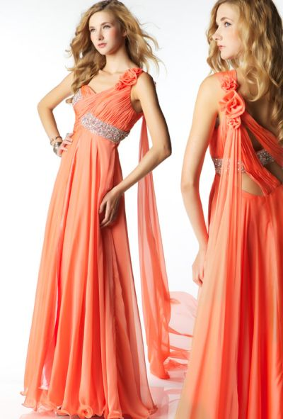 MacDuggal Prom Grecian Chiffon Evening Dress 2621M: French Novelty