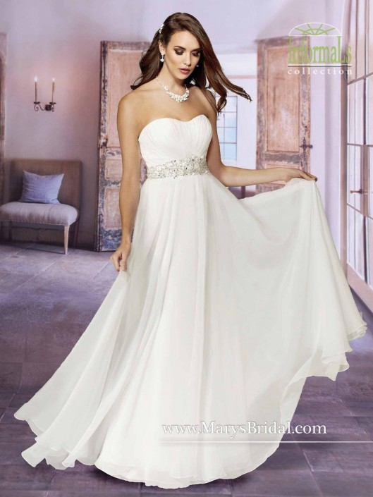 Marys Bridal 2622 Informal Ruched Chiffon Bridal Gown French Novelty - Marys Wedding Dresses