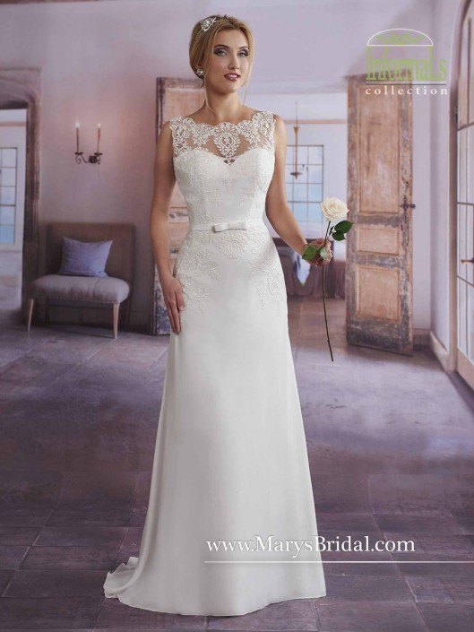 Size 6 Ivory Marys Bridal 2626 Informal Wedding Dress With Lace - Marys Wedding Dresses