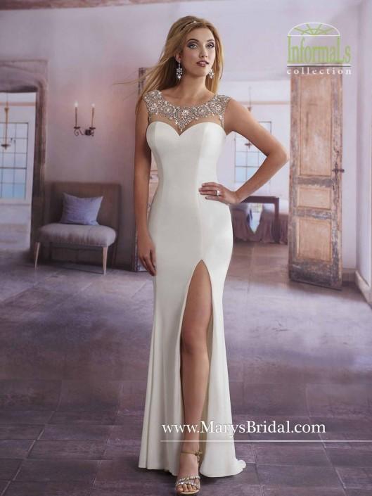Marys Bridal Informals 2628 Stretch Jersey Wedding Gown: French Novelty
