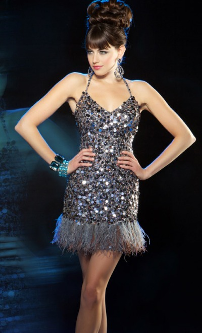 Mac Duggal Evening Sequin Cocktail Dress with Feathers 2645T ...