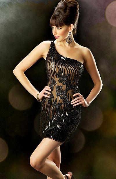 kleider kaufen  - Abendkleid - Ballkleid - Kurzes Kleid - schwarz Kleid - bestickte Spitze