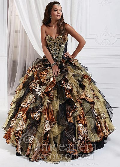 Quinceanera by House of Wu 26726 Animal Print Gown  French Novelty d186fa38b