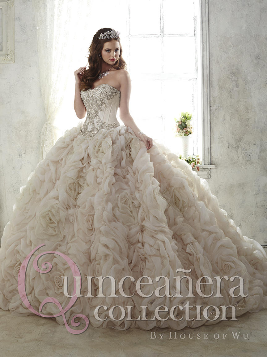 House Of Wu 26800 Sparkle Tulle Rosette Quinceanera Dress