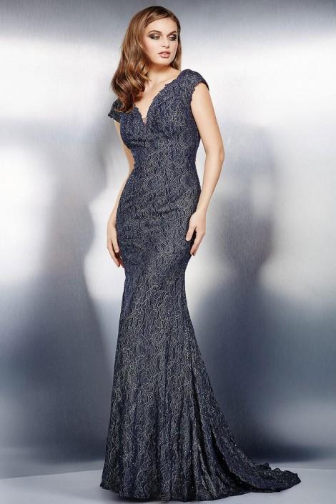 Jovani 26846 Cap Sleeve Crystal Evening Dress: French Novelty