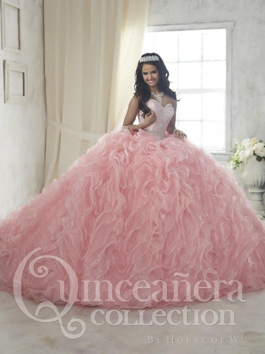 1c030250fa3 House of Wu 26848 Iridescent Organza Quinceanera Dress  French Novelty