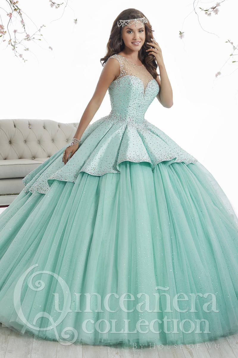 House of Wu 26873 Sheer Beaded Sparkling Quinceanera Dress: French ...