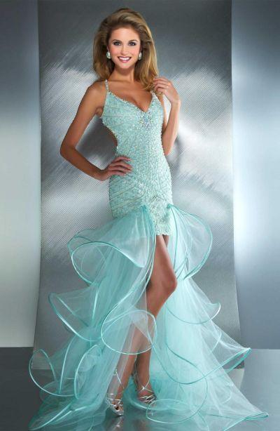 Macduggal 2687m High Low Mermaid Dress With Sheer Ruffle