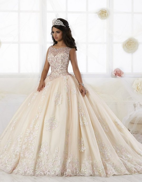 7880b3c5bd House of Wu 26895 Pastel Lace Quinceanera Dress  French Novelty