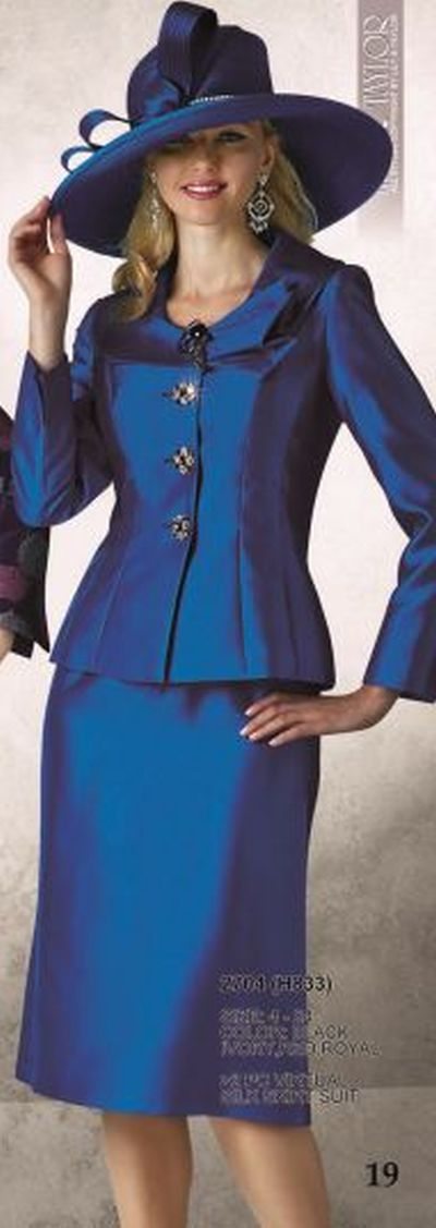 Lily and Taylor Womens Silk Church Suit 2704: French Novelty