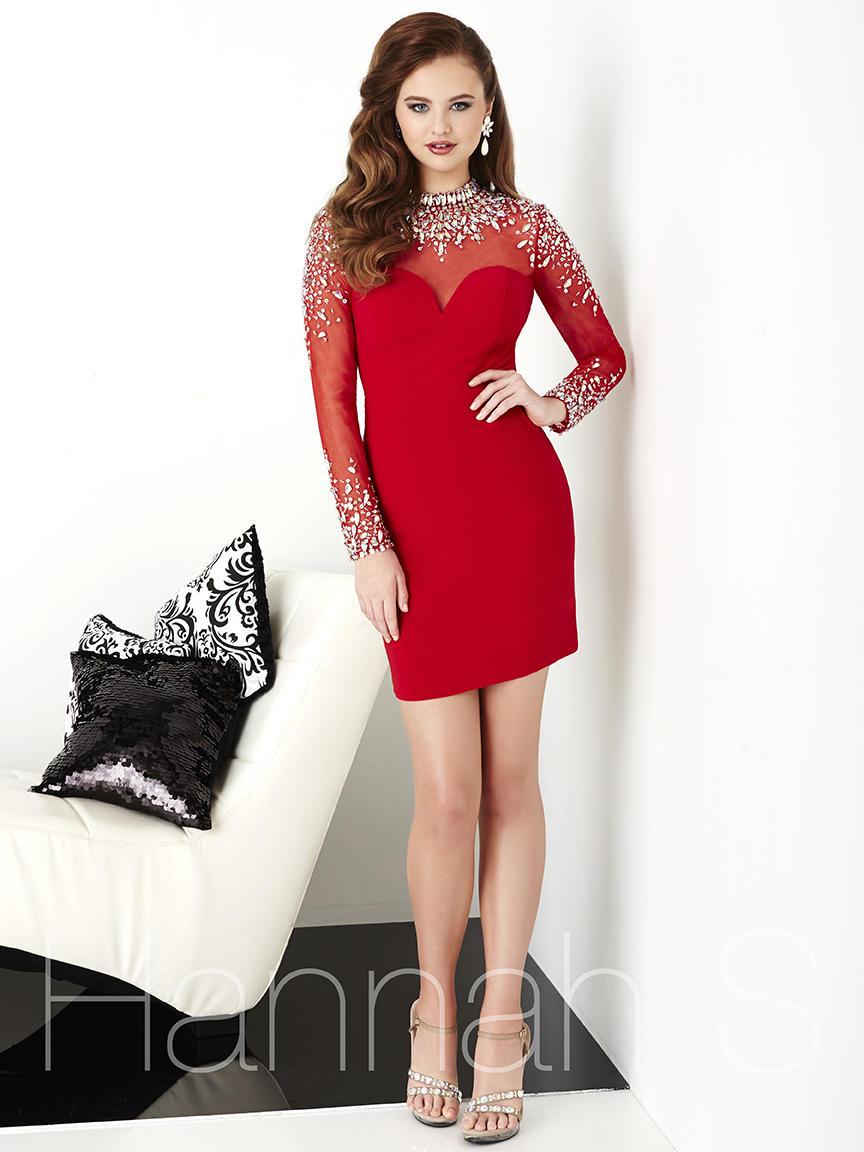 Hannah S 27056 Sheer Long Sleeve Cocktail Dress: French Novelty