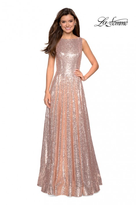 a20290418086 La Femme 27061 Sequin Gown with V Back: French Novelty