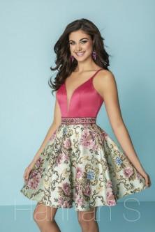 Hannah S 27155 Short Brocade Homecoming Dress