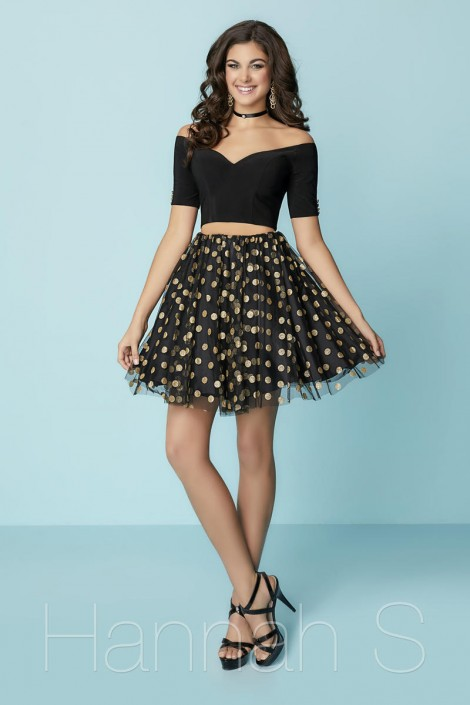 8fc57d06dd4 Hannah S 27166 Short 2pc Dress with Metallic Dots  French Novelty