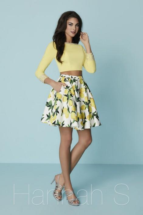 Hannah S 27187 Short 2 Piece Lemon Print Dress