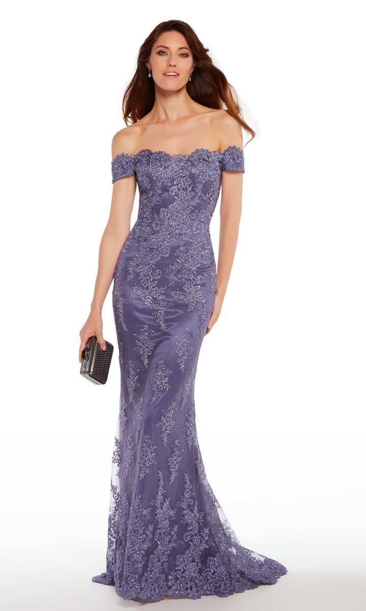 alyce 27249 off shoulder lace formal gown french novelty. Black Bedroom Furniture Sets. Home Design Ideas