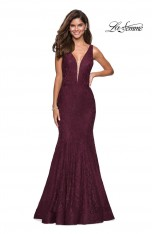 43610fd8ddc Size 00 Dark Berry La Femme 27464 Stretch Lace V Back Prom Dress