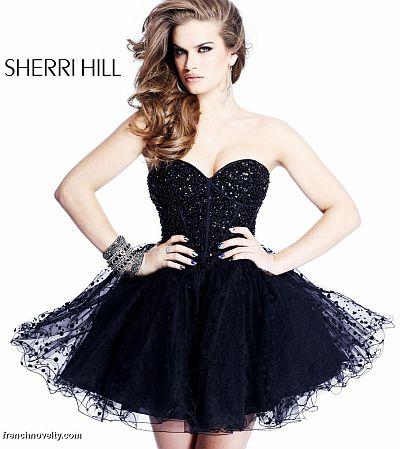 Black Sherri Hill Short Prom Party Dress 2750 French Novelty