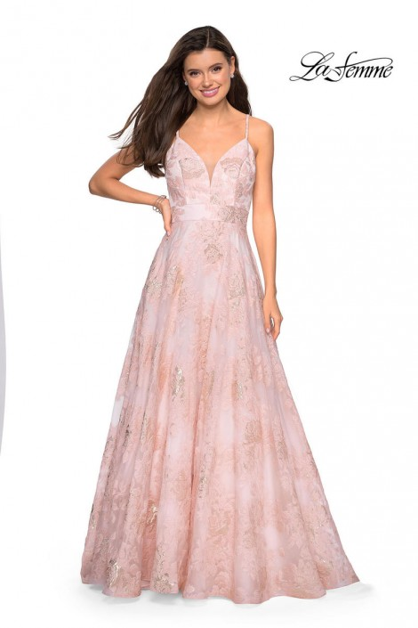 fea19dcec5 Gigi by La Femme 27549 Floral Organza Prom Dress  French Novelty