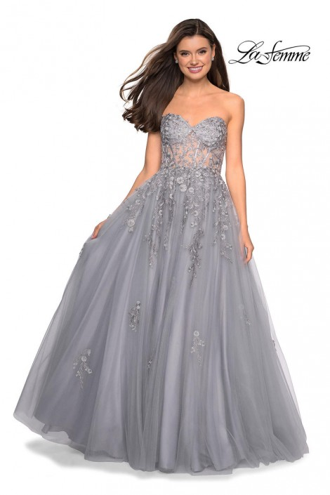 c67eb2dbe78 Gigi by La Femme 27592 Sheer Corset Prom Gown  French Novelty