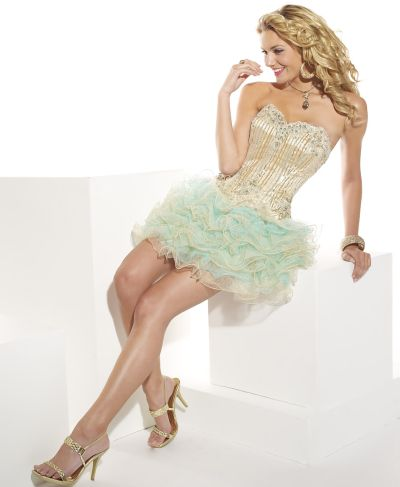 Hannah S Short Metallic Tulle Ruffle Prom Dress 27610: French Novelty