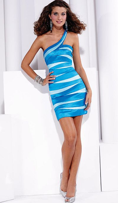 Hannah S One Shoulder Stretch Taffeta Short Prom Dress 27682 ...